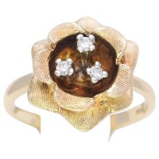 Vintage 14k Diamond Flower Ring