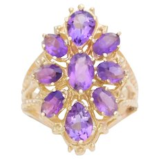 Vintage 14k Gold 2.5ct Amethyst Cluster Style Cocktail Ring