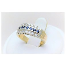 Vintage 10k Two-Tone Sapphire Ring