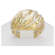 Vintage 14k Yellow Gold Faceted Dome Ring