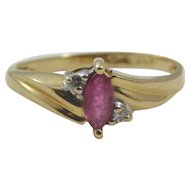 Ladies 14 Karat Yellow Gold Ruby and Diamond Ring