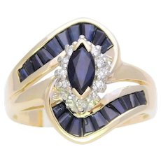 Vintage Marquise Sapphire and Diamond Cluster Ring