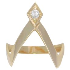 Vintage 14k Solitaire Diamond Wishbone Ring