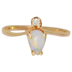 Vintage 14k Opal and Diamond Wishbone Ring