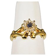 Ladies 14 Karat Yellow Gold Diamond and Sapphire Ring