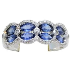 Ladies Vintage 14kt White Gold Diamond and Sapphire Ring Cocktail Ring