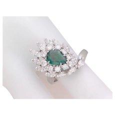 3.50ct Art Deco Platinum Emerald and Diamond Dinner Ring