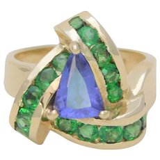 Vintage Handmade 14k Gold Tanzanite and Emerald Dinner Ring