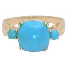 Vintage 14k Gold Turquoise and Diamond Ring