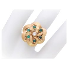 Vintage 14k Gold Emerald and Diamond Multistone Dome Ring