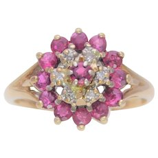 Mid Century 10k Gold Ruby and Diamond Cluster Ring