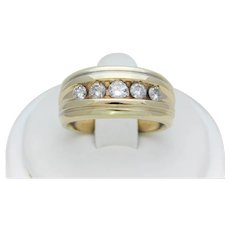 Gents Vintage 14k Gold Channel Set Diamond Statement Ring