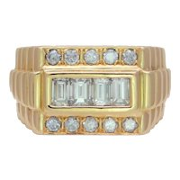 Gent's Midcentury 18 Karat Gold Emerald and Round Brilliant Diamond Ring