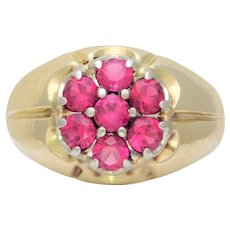 Gents Vintage 14k Gold Ruby Cluster Ring
