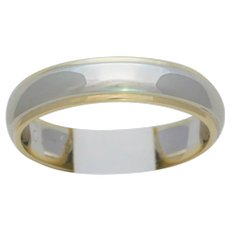 Gents 14k Two Tone Gold 5mm Comfort Fit Carved Wedding Band