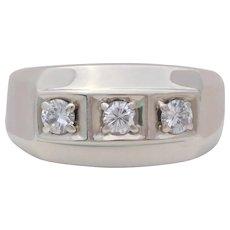 Vintage Men's 14k White Gold Three-Stone Diamond Ring