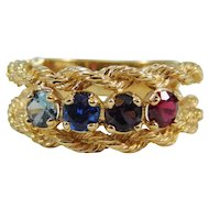 Ladies 14 Karat Yellow Gold Rope Ring w/ Colored Stones