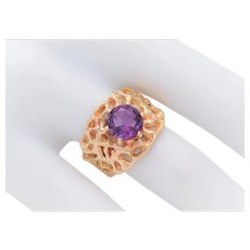 Vintage 14k Gold and Amethyst Nugget Ring