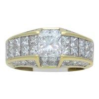 Rare Vintage 18k Gold Quadrillion-Cut Diamond Cocktail Ring