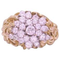 Vintage 18k Gold Custom Made Diamond Domed Cluster Ring