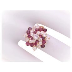 Vintage 14k Gold Custom Made Swirling Diamond and Ruby Cluster Ring