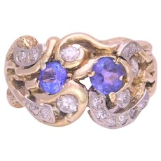 Vintage 14k Gold Hand Made Abstract Tanzanite and Diamond Cluster Ring