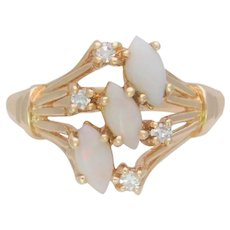 Vintage 14k Gold Opal and Diamond Cocktail Ring