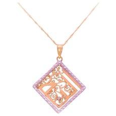 Italian Crafted Vintage 14k Gold Diamond Pendant Necklace