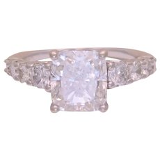 GIA Certified 4.03ct F Color Natural Elongated Cushion Diamond Engagement Ring