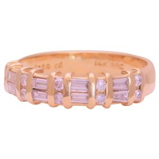 Vintage 14k Gold Natural Round and Baguette Diamond Band