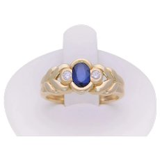 Vintage 14k Gold Natural Oval Sapphire and Diamond Accented Solitaire Ring