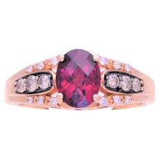Le Vian 14k Gold Natural Oval Rhodolite Garnet and Chocolate Diamond Ring