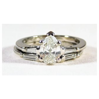 Dazzling Diamond and Platinum Engagement Ring with Diamond Accents