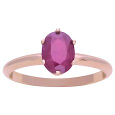 Oval Faceted Dark Pink Spinel Solitaire Ring