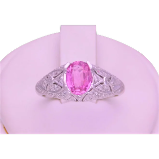 Vintage 14k White Gold Oval Faceted Pink Topaz and Diamond Ring