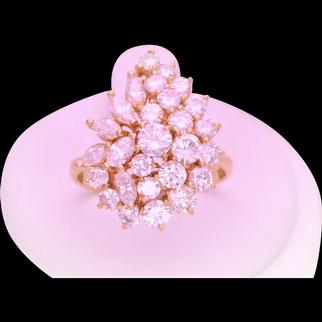 Vintage 18k Gold Diamond Cluster Ring