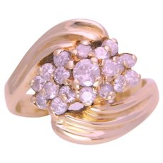 Vintage 14k Gold Diamond Cluster Ring