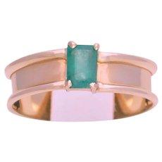 Vintage 14k Gold Natural Emerald Solitaire Ring