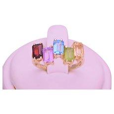 10k Gold Emerald Cut Topaz, Garnet, Citrine, Amethyst Ring