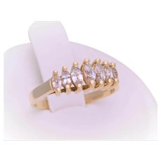 Vintage 14k Gold Marquise Cut Pink Topaz Bridge Ring