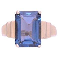 Retro 9ct AA Emerald Cut London Blue Topaz Solitaire Ring