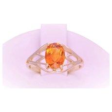 Vintage Oval Faceted Orange Garnet Solitaire Ring