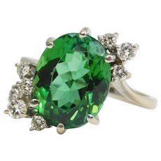 Green, Tourmaline, Diamond, White, Gold, Ring, Oval, Natural, 18k, White, Gold, Antique, Edberg Jewelry
