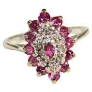 Ladies 10 Karat White Gold Diamond and Ruby Ring