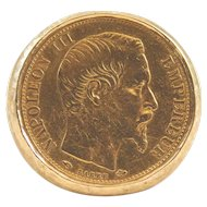 Unisex 1856 20 Francs Gold Coin on 14 Karat Yellow Gold Ring.