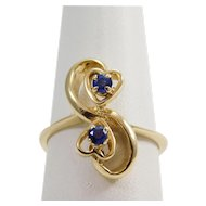 Ladies 14 karat Yellow Gold Sapphire Heart Ring