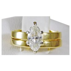 Vintage 14k Gold Diamond Engagement Ring and Wedding Band Set