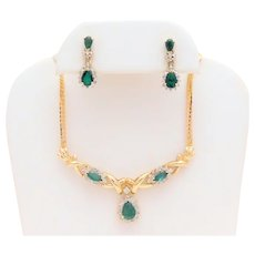 Vintage Italian Crafted 14k Gold Emerald & Diamond Necklace and Earring Jewelry Set