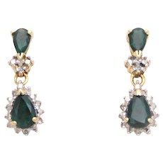 Vintage 10k Gold Sapphire & Diamond Pendant and Earring Jewelry Set