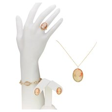 Vintage 14k Gold Complete Cameo 4-Piece Jewelry Set